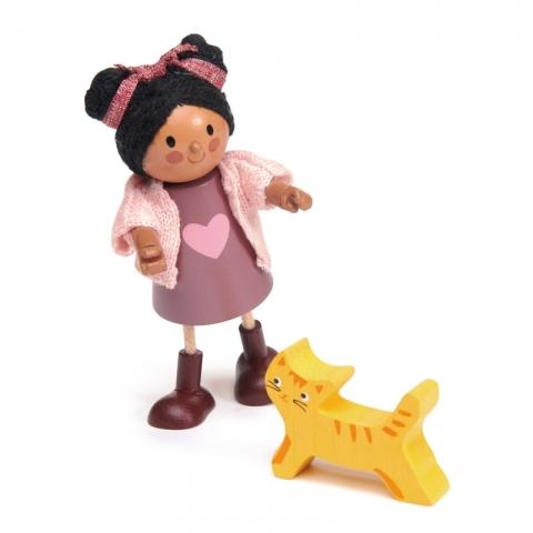 Papusi din lemn - Ayana si pisicuta ei