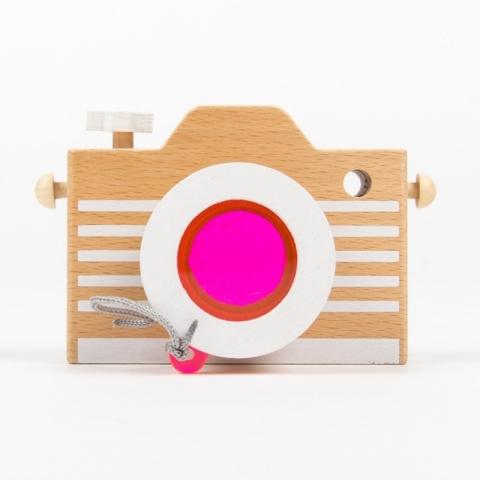 Jucarie aparat foto din lemn - roz
