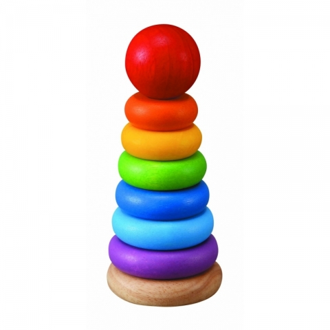 Turn din lemn pentru stivuire cu inele colorate