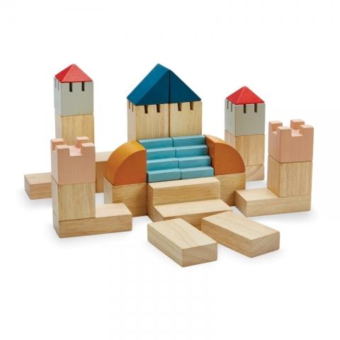 Set de constructie cu 30 de blocuri din lemn