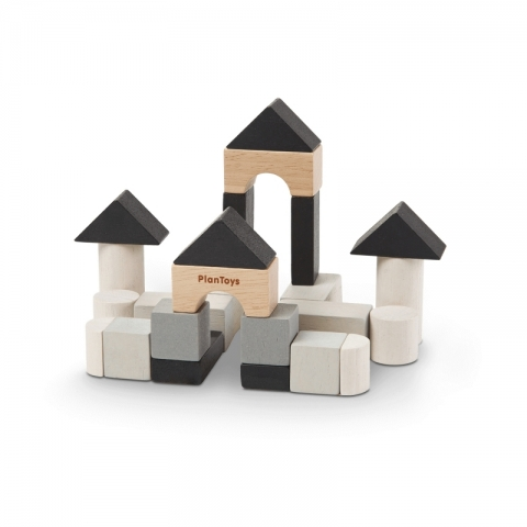 Mini set de constructie cu 24 de piese din lemn