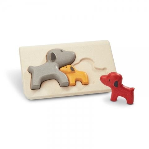 Puzzle din lemn cu familia de caini
