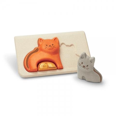 Puzzle din lemn cu familia de pisici