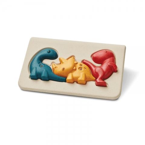Puzzle din lemn cu familia de dinozauri