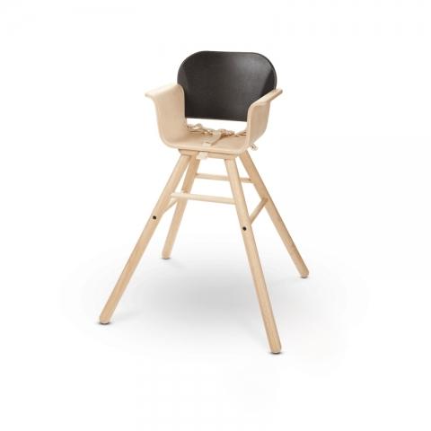 Scaun de masa din lemn pentru bebelusi, negru