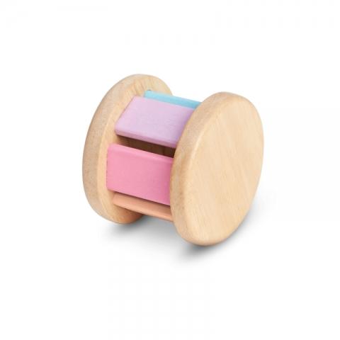 Jucarie din lemn pentru bebelusi - Rotita zornaitoare, roz - Plan Toys