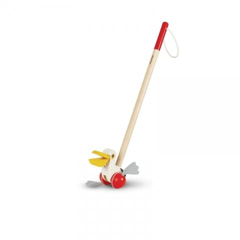 Jucarie din lemn cu roti de impins - Pelican - Plan Toys