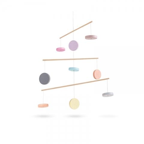 Carusel pentru patutul bebelusului, model pastel - Plan Toys